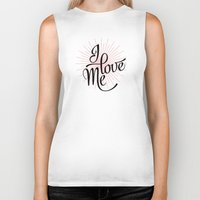 calligraphy Biker Tanks featuring I love Me! calligraphy by Seven Roses
