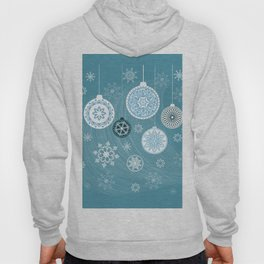 christmas balls with snowflakes on the blue Hoody