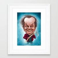jack nicholson Framed Art Prints featuring Jack Nicholson caricature by Jordygraph