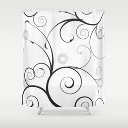 Black and Gray Swirls and Circles Shower Curtain