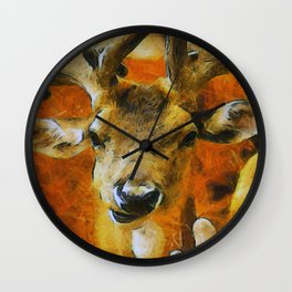 Golden Deer Wall Clock