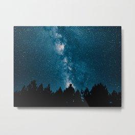 Blue Milky Way At Night Pine Tree Silhouette Stars Night Time Metal Print