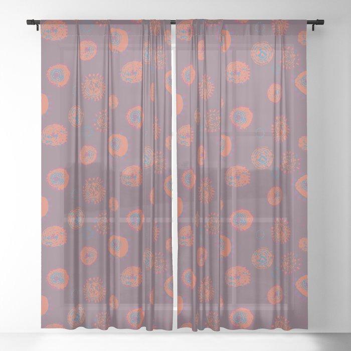 Hand Printed Circular Floral Sheer Curtain