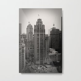 Chicago Tribune Tower Building Black and White Photo Metal Print