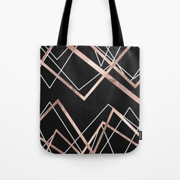 Rose Gold Black Linear Triangle Abstract Pattern Tote Bag