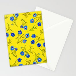 YELLOW & BLUE FLORAL Stationery Cards