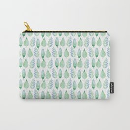 Mint Green Leaves Carry-All Pouch