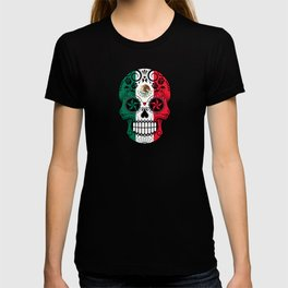 Sugar Skull with Roses and Flag of Mexico T-shirt