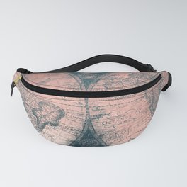 Vintage World Map Rose Gold and Storm Gray Navy Fanny Pack