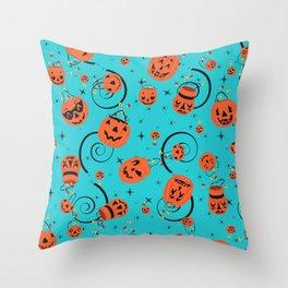 Halloween Magic- Turquoise Throw Pillow