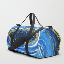 Cobalt blue and gold geode in watercolor Duffle Bag