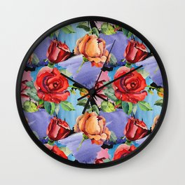 Hand painted abstract red orange watercolor roses floral pattern Wall Clock