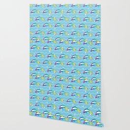 Rainbow Dolphin on the Sea Wave_C Wallpaper