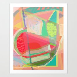 Shapes and Layers no.13 - abstract painting gouache and pastel Art Print