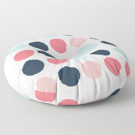 Dots painted coral mint navy pink pattern dotted polka dot minimalist Floor Pillow