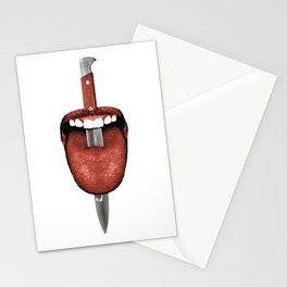 Tongue Cut by Kitchen Knife Photo Collage Stationery Cards