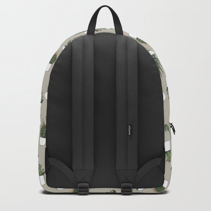 Watercolour cacti & succulents - Beige Backpack