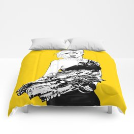 Arbitrary - Badass girl with gun in comic and pop art style Comforters