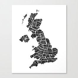 United Kingdom Word Map - Black and White Canvas Print