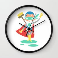super hero Wall Clocks featuring Super Hero 2 by La Lanterne