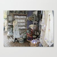 shopping Canvas Prints featuring Shopping by Rosemary  Aubut