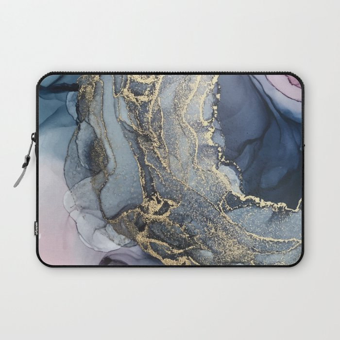 Blush, Payne's Gray and Gold Metallic Abstract Laptop Sleeve