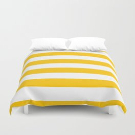 Aspen Gold Yellow and White Wide Horizontal Cabana Tent Stripe Duvet Cover
