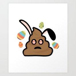 Poop Emoji Easter Bunny Ears Funny Art Print
