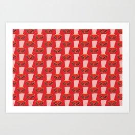 Retro Botanical Mid century Tulip Red Art Print