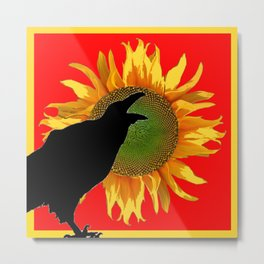 BLACK CROW YELLOW SUNFLOWER FLORAL RED ART Metal Print