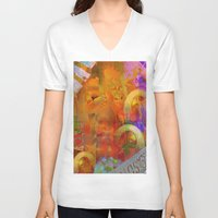 psychadelic V-neck T-shirts featuring Weird by Joe Ganech
