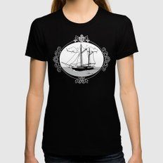 Sailing Ship Oval LARGE Womens Fitted Tee Black