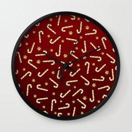 Golden Candycane Red Wall Clock