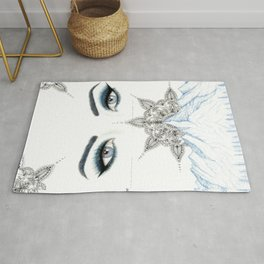 Winter Eyes Mountain Range Mandala Rug