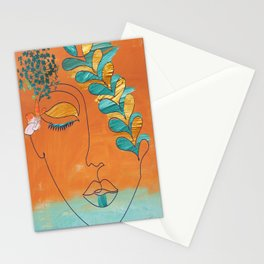 Monoline Woman Gilded Flowers Stationery Cards