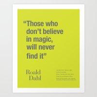 roald dahl Art Prints featuring Roald by Dark Cell Artwork