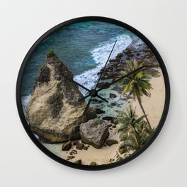 Rocky cliff, Blue Ocean Waves and Palm trees at Diamond beach Bali Wall Clock