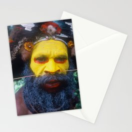 Global Citizen: Papua New Guinea Yellow Face Huli Dancer Stationery Cards
