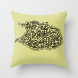 Green bubble Throw Pillow