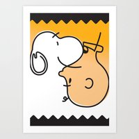 charlie brown Art Prints featuring Snoopy & Charlie Brown by Goce Veleski