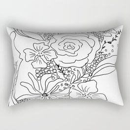 Floral Sketch Rectangular Pillow