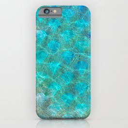 Sea Ocean Waves effect- Gold and Aqua Scales Pattern iPhone Case