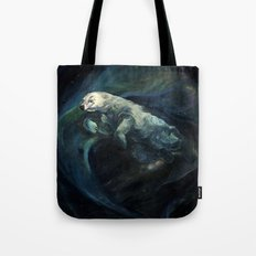 Polar Bear Swimming in Northern Lights Tote Bag