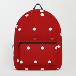 Red and White Polka Dots Pattern Backpack