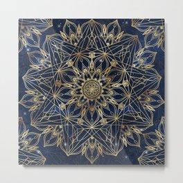 Gold Blue Mandala Star Nebula Design Metal Print