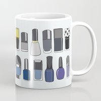 nail polish Mugs featuring my nail polish collection by uzualsunday