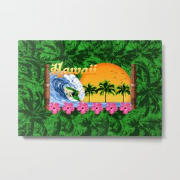 Hawaiian Surfing And Palm Trees Metal Print
