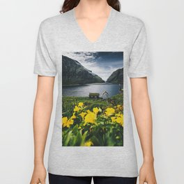 Cabin in Saksun - Faroe Islands Unisex V-Neck