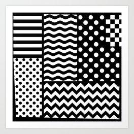 Mixed Patterns (Horizontal Stripes/Polka Dots/Wavy Stripes/Chevron/Checker) Art Print