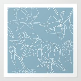 Roses, Line Drawing, White on Pale Blue Art Print